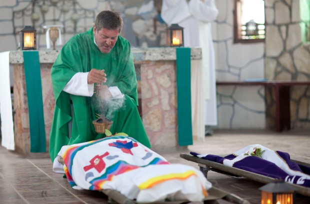 Fr. Rick Frechette, CP in the St. Philomena Chapel at NPH Haiti St. Damien Pediatric Hospital. Photo taken by Douglas Ford Rea