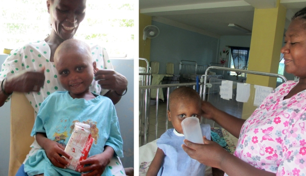Paul with his mother eating fortified peanut butter and receiving milk from an aide.